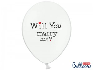 Balon Will you marry me? Pastel Pure White 14 cali - 35 cm