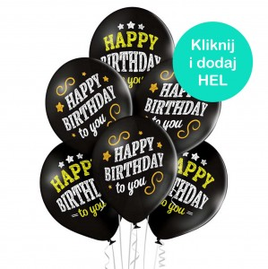 Balony Happy Birthday czarne 6szt