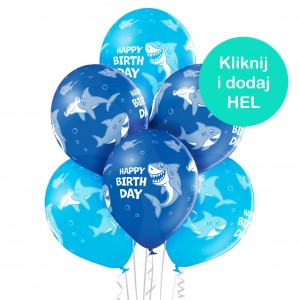 Balony Rekiny Happy Birthday mix 6szt