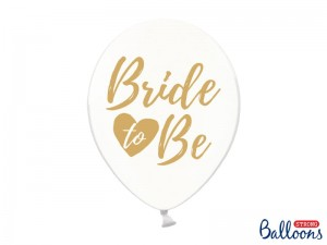 "Balon ""Bride to be"" Transparentny gold 14 cali - 35 cm"
