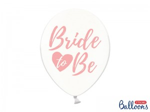 "Balon ""Bride to be"" Transparentny pink 14 cali - 35 cm"