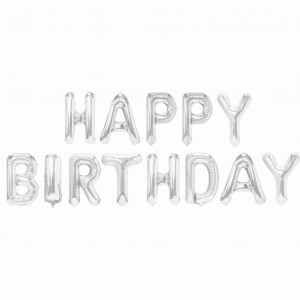 Balonowa Girlanda Happy Birthday Srebrna 340x35 cm