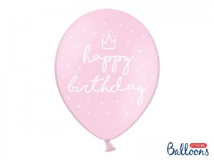 Balon  happy birthday Pastel Baby Pink 14 cali - 35 cm