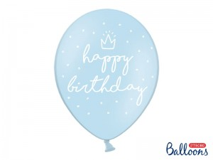 Balon  happy birthday Pastel Baby Blue 14 cali - 35 cm